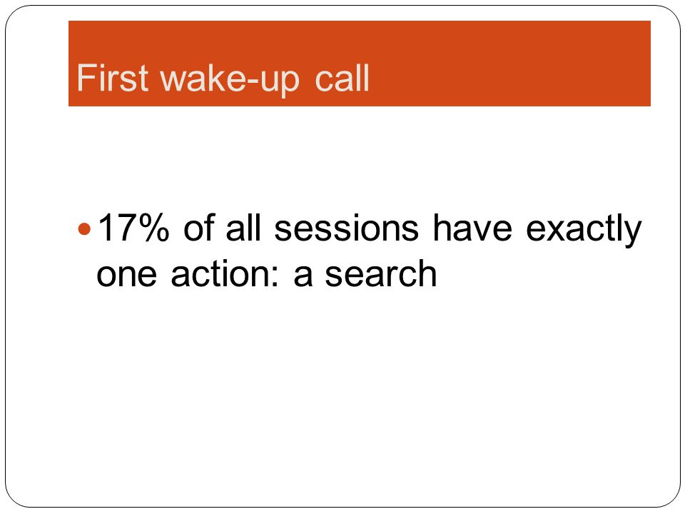 First wake-up call 17% of all sessions have exactly one action: a search