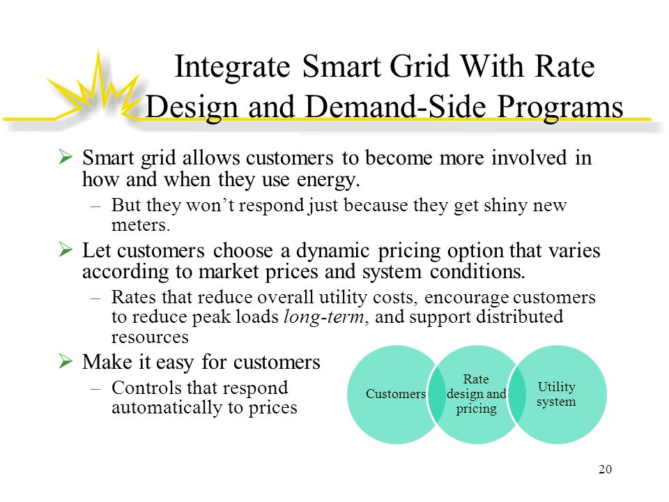Integrate Smart Grid With Rate Design and Demand-Side Programs Smart grid allows customers to become more involved in how and when they use energy. –B