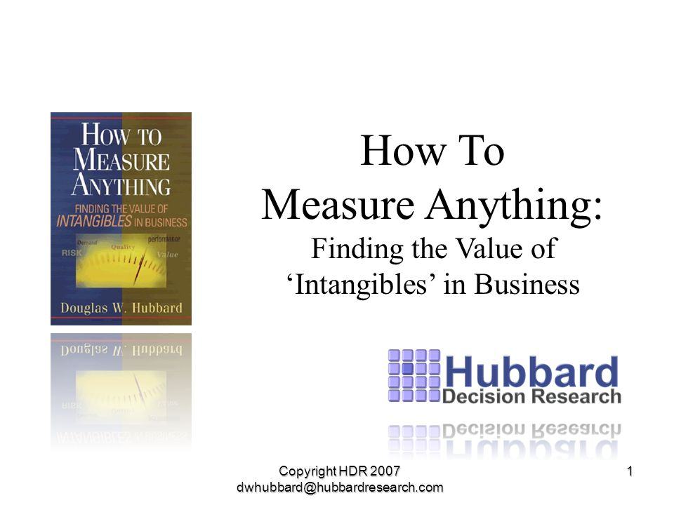Copyright HDR 2007 dwhubbard@hubbardresearch.com 1 How To Measure Anything: Finding the Value of Intangibles in Business
