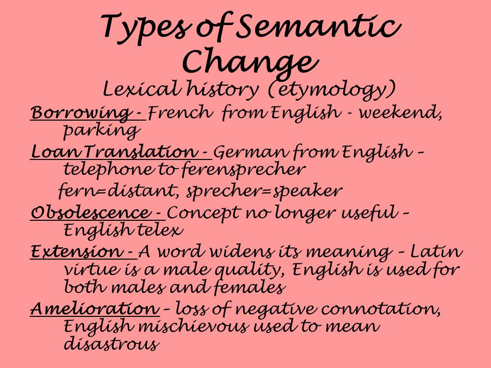 Types of Semantic Change Lexical history (etymology) Borrowing - French from English - weekend, parking Loan Translation - German from English – telep
