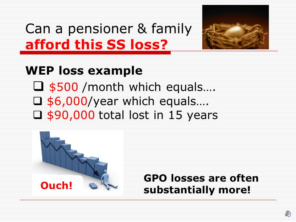 Can a pensioner & family afford this SS loss? $500 /month which equals…. $6,000/year which equals…. $90,000 total lost in 15 years OUCH GPO losses are