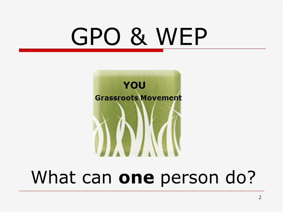 2 GPO & WEP What can one person do? Grassroots Movement YOU