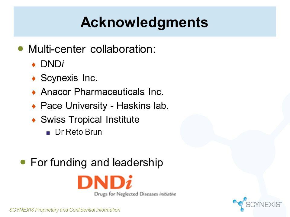 SCYNEXIS Proprietary and Confidential Information Acknowledgments Multi-center collaboration: DNDi Scynexis Inc. Anacor Pharmaceuticals Inc. Pace Univ