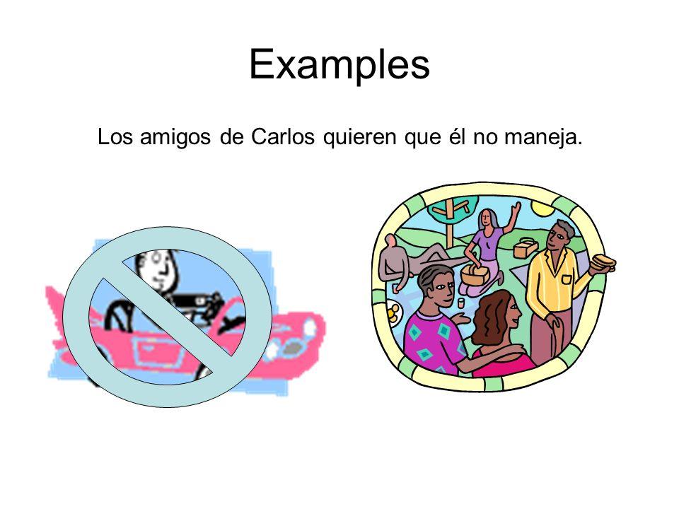 Examples Los amigos de Carlos quieren que él no maneja.