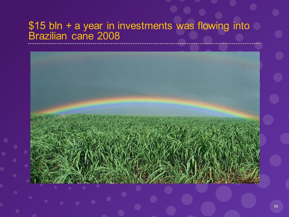 $15 bln + a year in investments was flowing into Brazilian cane 2008 10