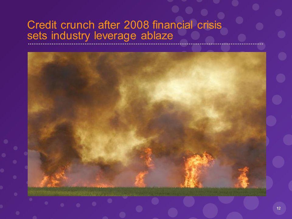 Credit crunch after 2008 financial crisis sets industry leverage ablaze 12