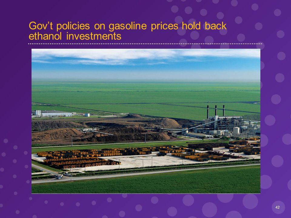 Govt policies on gasoline prices hold back ethanol investments 42