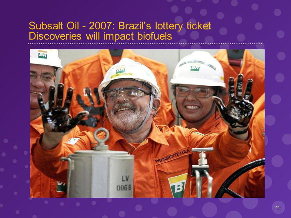 Subsalt Oil - 2007: Brazils lottery ticket Discoveries will impact biofuels 44