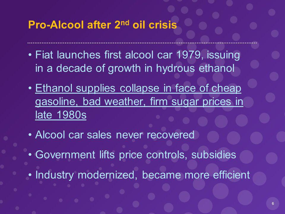 Pro-Alcool after 2 nd oil crisis Fiat launches first alcool car 1979, issuing in a decade of growth in hydrous ethanol Ethanol supplies collapse in face of cheap gasoline, bad weather, firm sugar prices in late 1980s Alcool car sales never recovered Government lifts price controls, subsidies Industry modernized, became more efficient 6