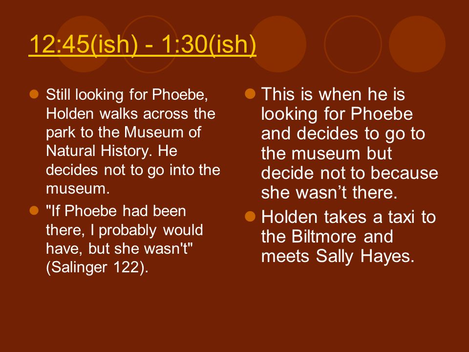 12:45(ish) - 1:30(ish) Still looking for Phoebe, Holden walks across the park to the Museum of Natural History. He decides not to go into the museum.