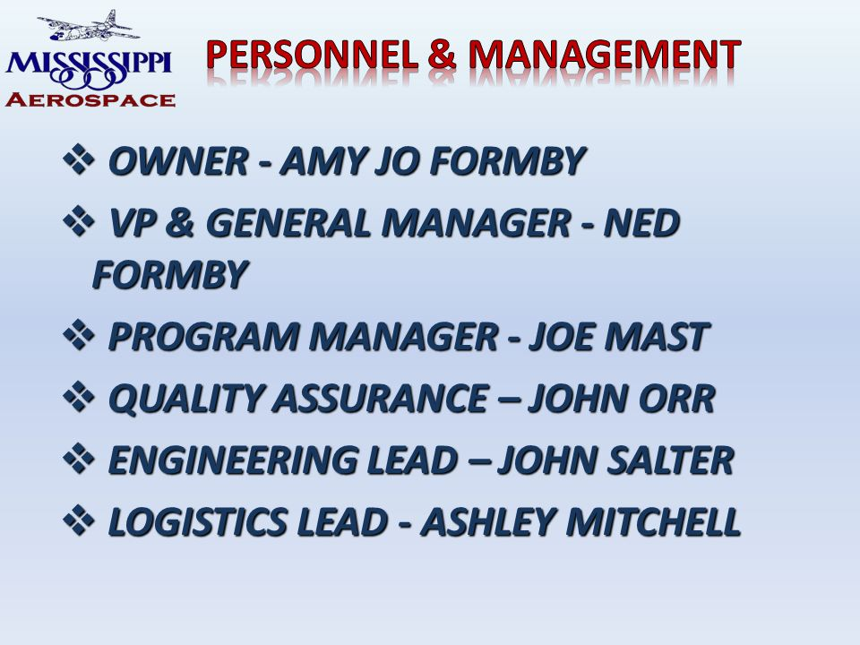 OWNER - AMY JO FORMBY OWNER - AMY JO FORMBY VP & GENERAL MANAGER - NED FORMBY VP & GENERAL MANAGER - NED FORMBY PROGRAM MANAGER - JOE MAST PROGRAM MANAGER - JOE MAST QUALITY ASSURANCE – JOHN ORR QUALITY ASSURANCE – JOHN ORR ENGINEERING LEAD – JOHN SALTER ENGINEERING LEAD – JOHN SALTER LOGISTICS LEAD - ASHLEY MITCHELL LOGISTICS LEAD - ASHLEY MITCHELL