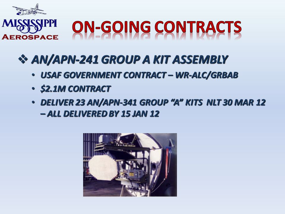 AN/APN-241 GROUP A KIT ASSEMBLY AN/APN-241 GROUP A KIT ASSEMBLY USAF GOVERNMENT CONTRACT – WR-ALC/GRBAB USAF GOVERNMENT CONTRACT – WR-ALC/GRBAB $2.1M CONTRACT $2.1M CONTRACT DELIVER 23 AN/APN-341 GROUP A KITS NLT 30 MAR 12 – ALL DELIVERED BY 15 JAN 12 DELIVER 23 AN/APN-341 GROUP A KITS NLT 30 MAR 12 – ALL DELIVERED BY 15 JAN 12