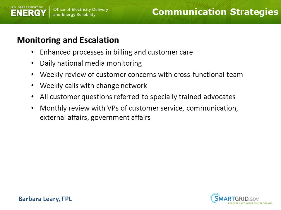 Communication Strategies Monitoring and Escalation Enhanced processes in billing and customer care Daily national media monitoring Weekly review of customer concerns with cross-functional team Weekly calls with change network All customer questions referred to specially trained advocates Monthly review with VPs of customer service, communication, external affairs, government affairs Barbara Leary, FPL