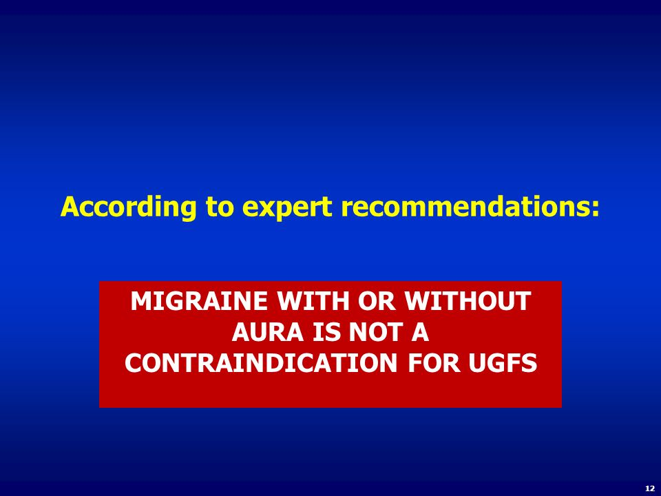 According to expert recommendations: MIGRAINE WITH OR WITHOUT AURA IS NOT A CONTRAINDICATION FOR UGFS 12