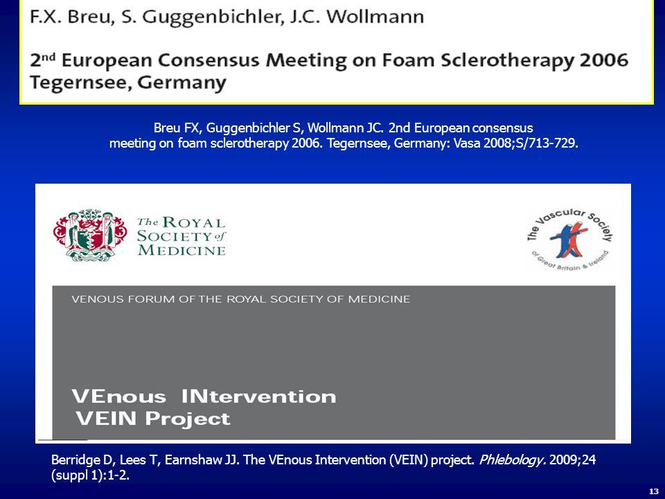 Breu FX, Guggenbichler S, Wollmann JC. 2nd European consensus meeting on foam sclerotherapy 2006. Tegernsee, Germany: Vasa 2008;S/713-729. Berridge D,