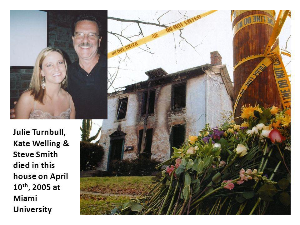 Julie Turnbull, Kate Welling & Steve Smith died in this house on April 10 th, 2005 at Miami University