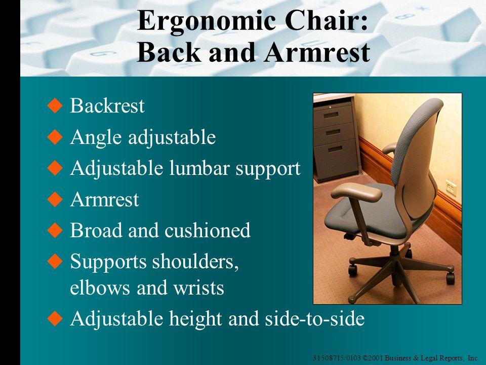 31508715/0103 ©2001 Business & Legal Reports, Inc. Ergonomic Chair: Back and Armrest Backrest Angle adjustable Adjustable lumbar support Armrest Broad