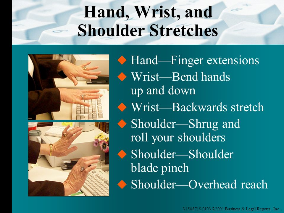 31508715/0103 ©2001 Business & Legal Reports, Inc. Hand, Wrist, and Shoulder Stretches HandFinger extensions WristBend hands up and down WristBackward
