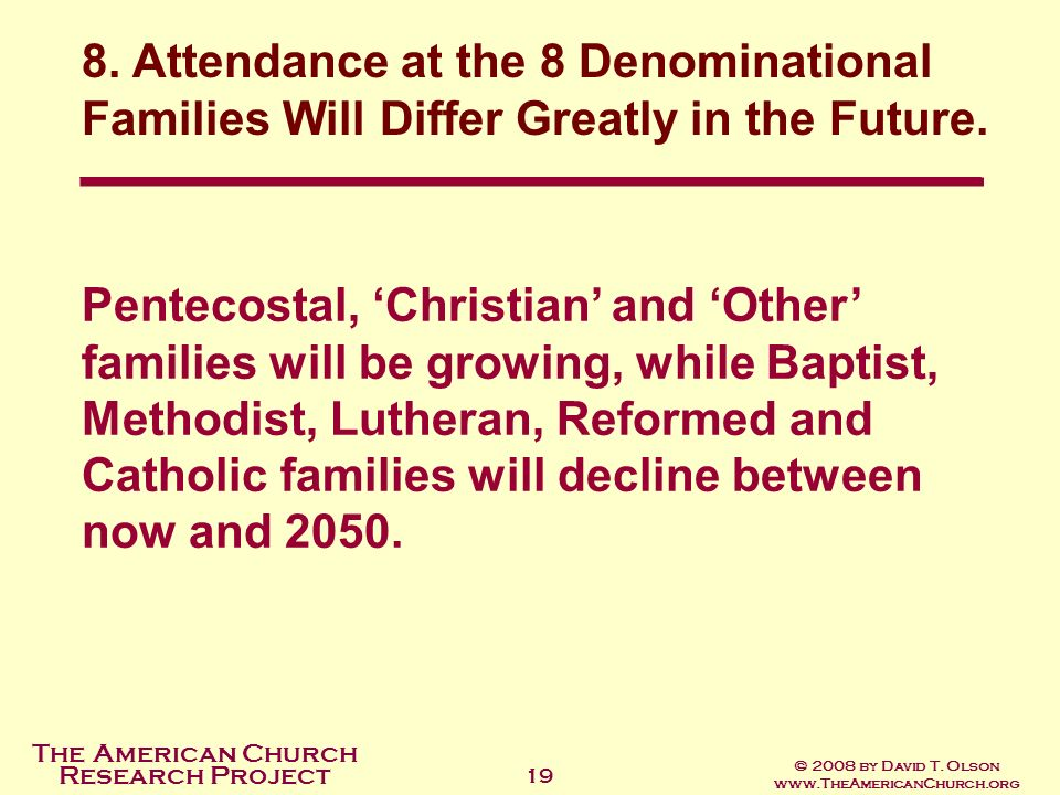 The American Church Research Project © 2008 by David T. Olson www.TheAmericanChurch.org 19 Pentecostal, Christian and Other families will be growing,