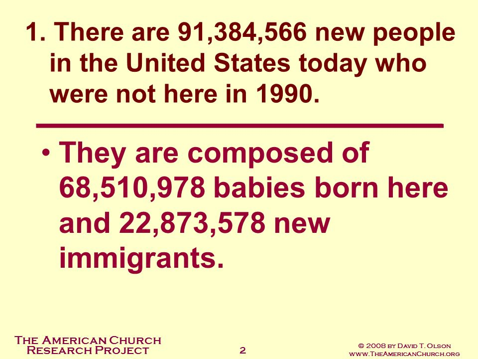 The American Church Research Project © 2008 by David T. Olson www.TheAmericanChurch.org 2 They are composed of 68,510,978 babies born here and 22,873,