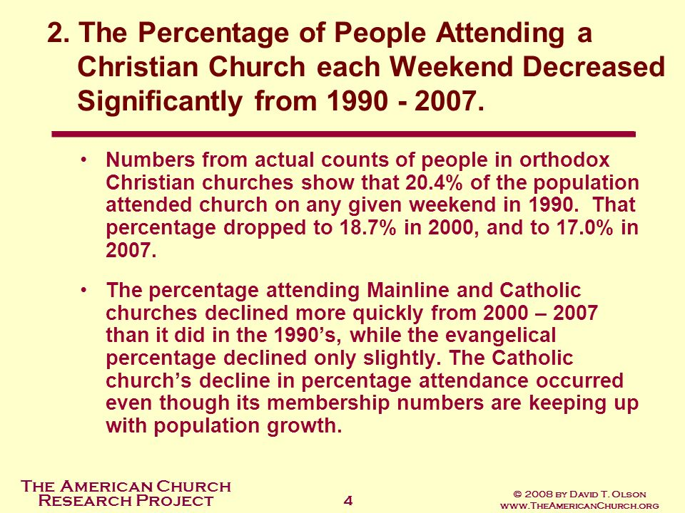 The American Church Research Project © 2008 by David T. Olson www.TheAmericanChurch.org 4 Numbers from actual counts of people in orthodox Christian c