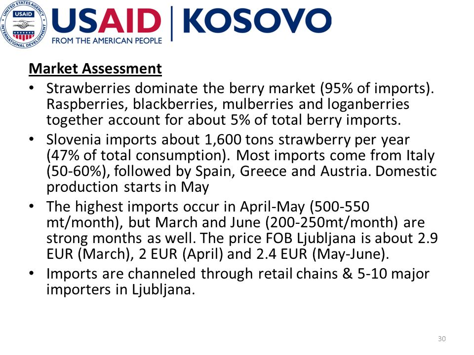 Market Assessment Strawberries dominate the berry market (95% of imports).
