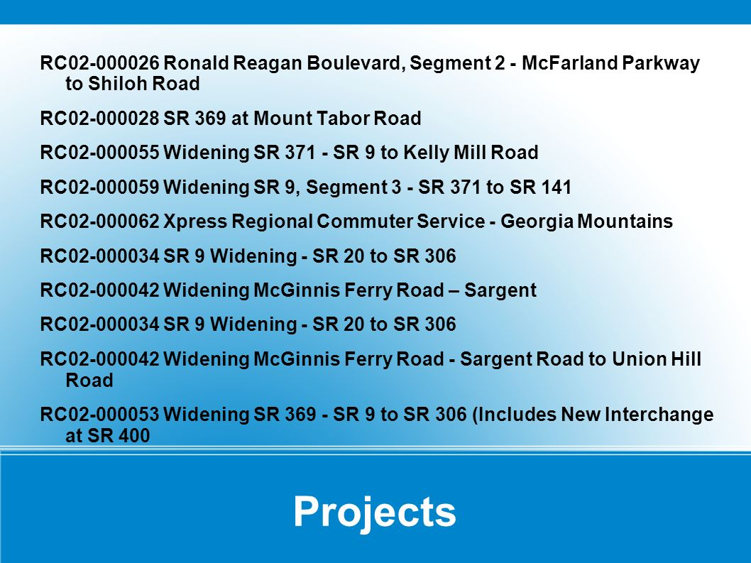 Projects RC02-000026 Ronald Reagan Boulevard, Segment 2 - McFarland Parkway to Shiloh Road RC02-000028 SR 369 at Mount Tabor Road RC02-000055 Widening SR 371 - SR 9 to Kelly Mill Road RC02-000059 Widening SR 9, Segment 3 - SR 371 to SR 141 RC02-000062 Xpress Regional Commuter Service - Georgia Mountains RC02-000034 SR 9 Widening - SR 20 to SR 306 RC02-000042 Widening McGinnis Ferry Road – Sargent RC02-000034 SR 9 Widening - SR 20 to SR 306 RC02-000042 Widening McGinnis Ferry Road - Sargent Road to Union Hill Road RC02-000053 Widening SR 369 - SR 9 to SR 306 (Includes New Interchange at SR 400