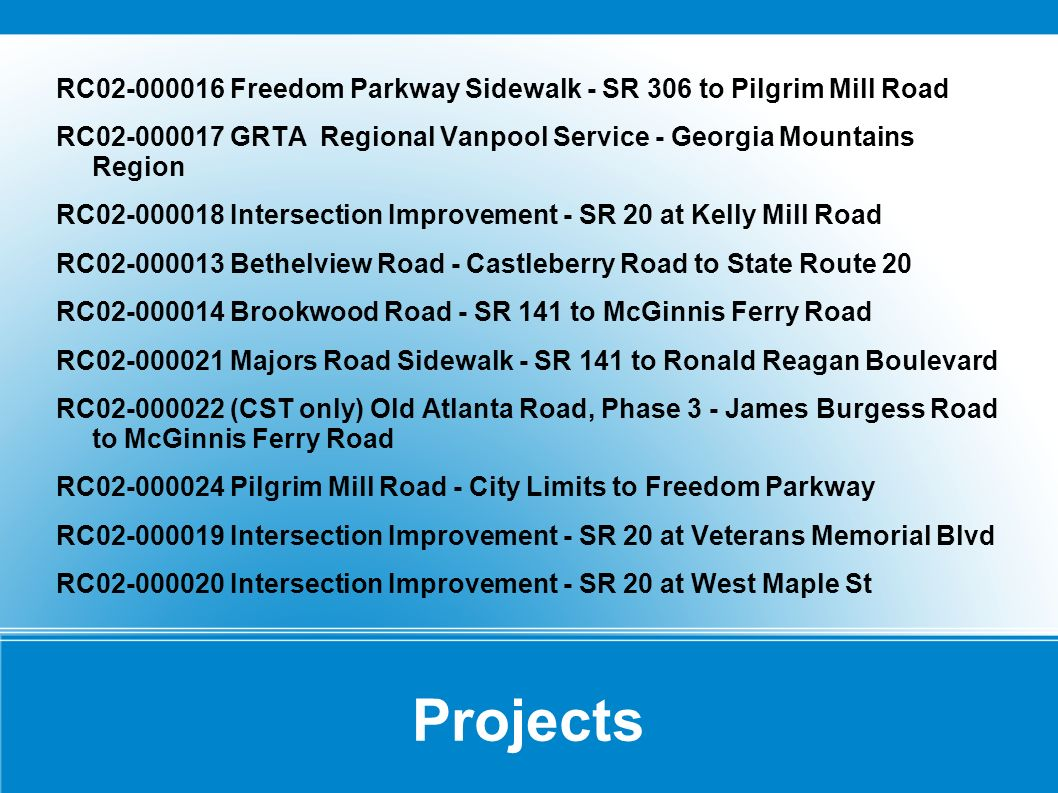 Projects RC Freedom Parkway Sidewalk - SR 306 to Pilgrim Mill Road RC GRTA Regional Vanpool Service - Georgia Mountains Region RC Intersection Improvement - SR 20 at Kelly Mill Road RC Bethelview Road - Castleberry Road to State Route 20 RC Brookwood Road - SR 141 to McGinnis Ferry Road RC Majors Road Sidewalk - SR 141 to Ronald Reagan Boulevard RC (CST only) Old Atlanta Road, Phase 3 - James Burgess Road to McGinnis Ferry Road RC Pilgrim Mill Road - City Limits to Freedom Parkway RC Intersection Improvement - SR 20 at Veterans Memorial Blvd RC Intersection Improvement - SR 20 at West Maple St