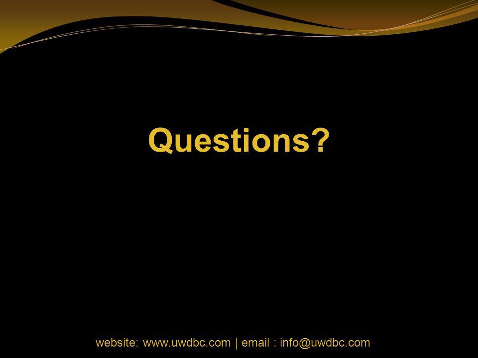Questions website: www.uwdbc.com | email : info@uwdbc.com