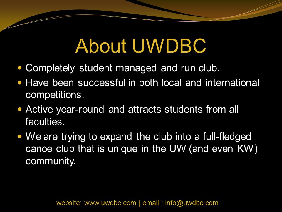 About UWDBC Completely student managed and run club. Have been successful in both local and international competitions. Active year-round and attracts