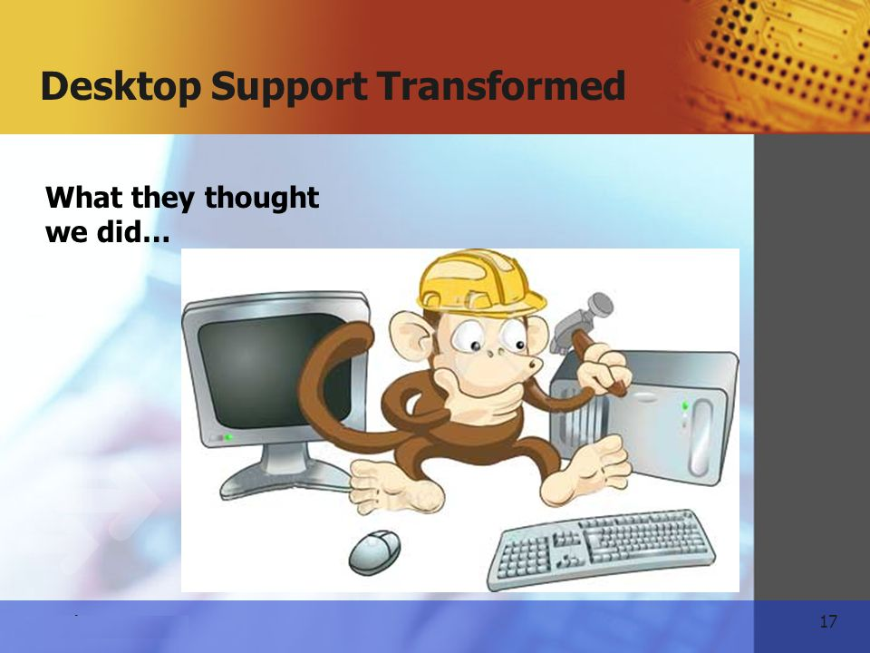 17 www.themeart.com Desktop Support Transformed What they thought we did…