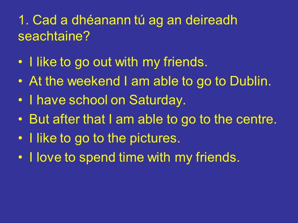 2.Cad a cheapann tú faoin scoil. I like the school.