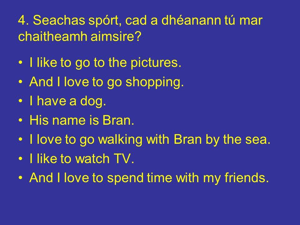5.Cad é an bia is fearr leat. I like to go to Mac Dónaill.