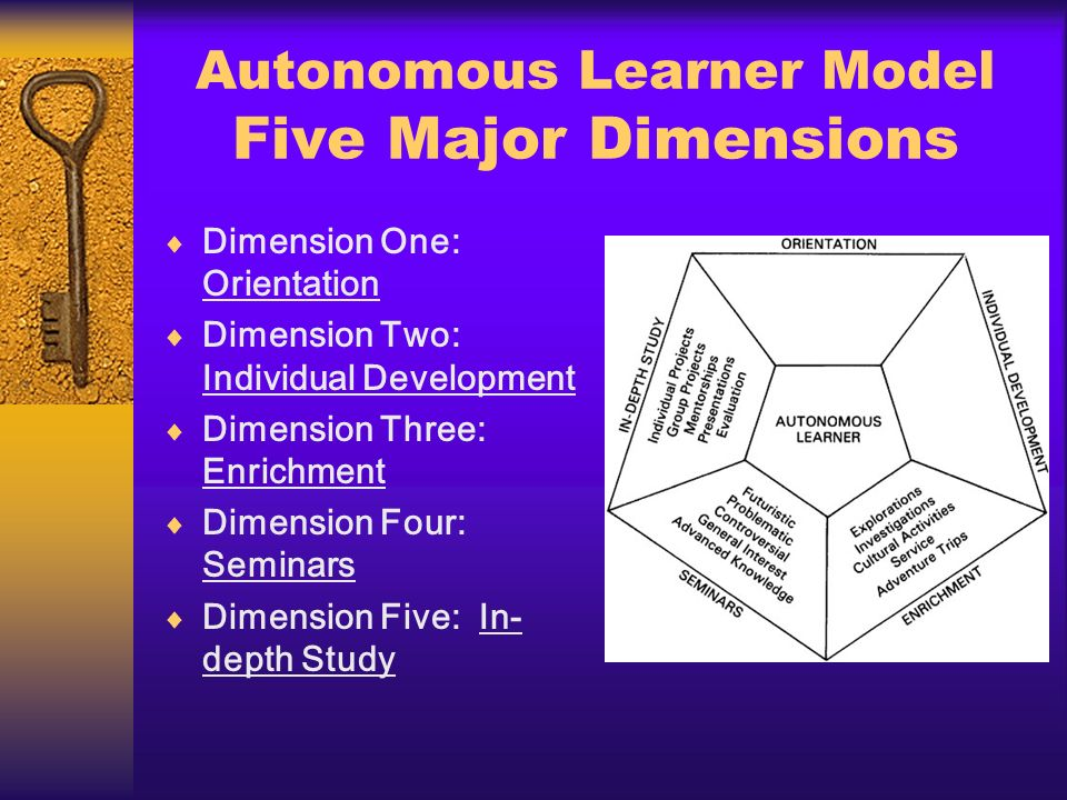 Orientation Crucial to development of the autonomous learner Contains four areas: 1.