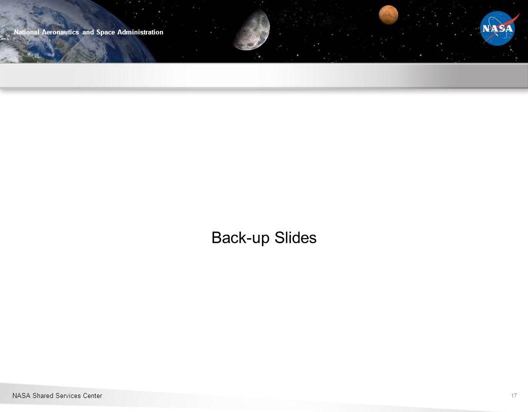 NASA Shared Services Center National Aeronautics and Space Administration Back-up Slides 17