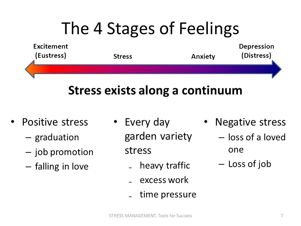 The 4 Stages of Feelings Positive stress – graduation – job promotion – falling in love Negative stress – loss of a loved one – Loss of job Excitement