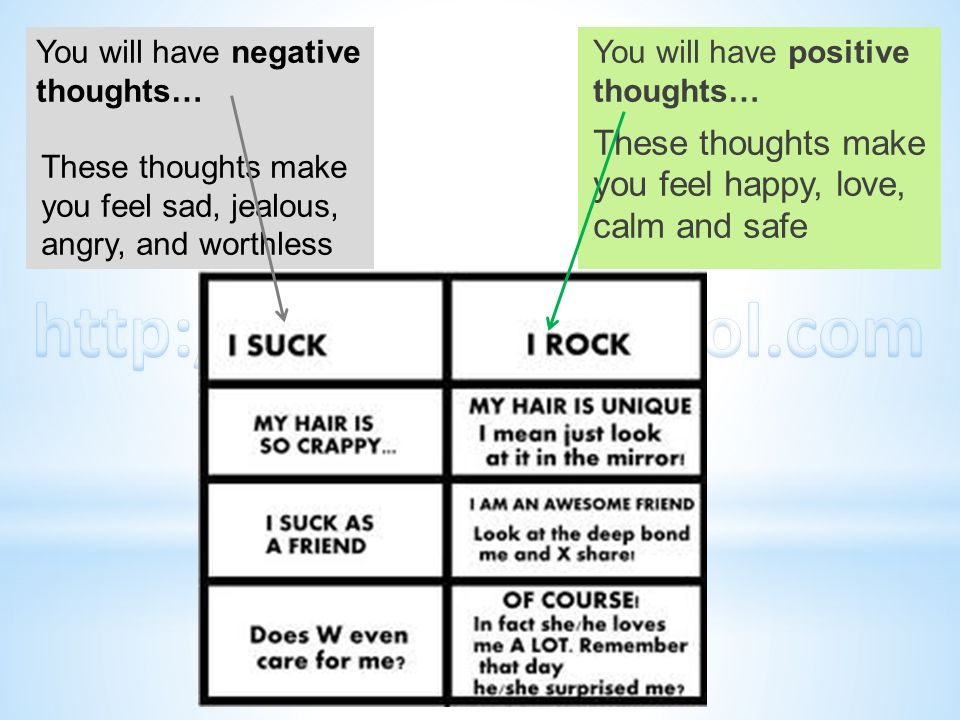 You will have negative thoughts… These thoughts make you feel sad, jealous, angry, and worthless You will have positive thoughts… These thoughts make