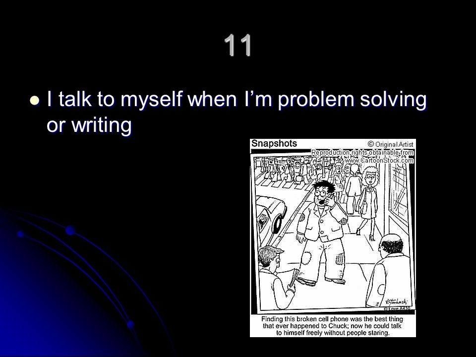 11 I talk to myself when Im problem solving or writing I talk to myself when Im problem solving or writing