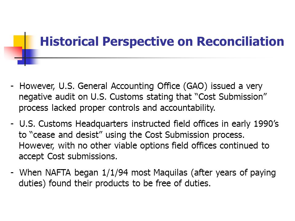 Historical Perspective on Reconciliation - Customs and importer sometimes didnt know if an annual. submission had been filed or how or even if refunds