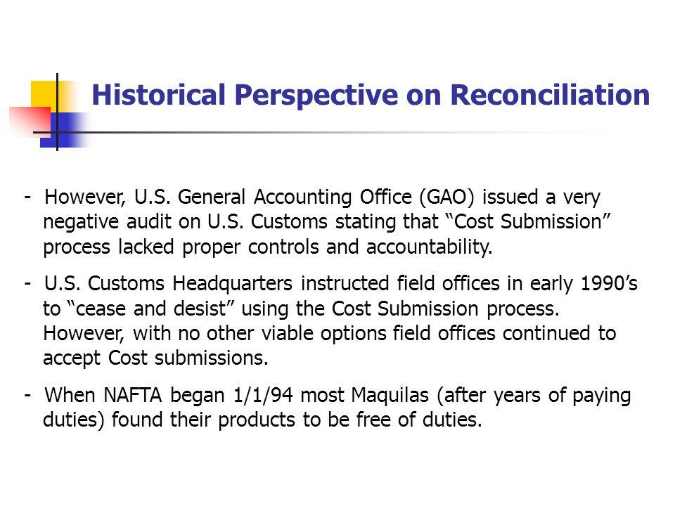 Reconciliation Prototype Bottom line on reconciliation: - A voluntary program, but U.S.
