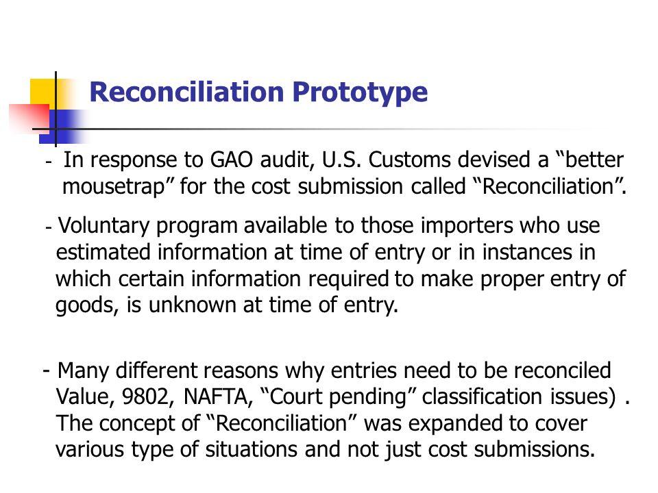 Reconciliation Prototype - In response to GAO audit, U.S.