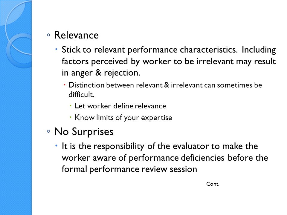 Relevance Stick to relevant performance characteristics.