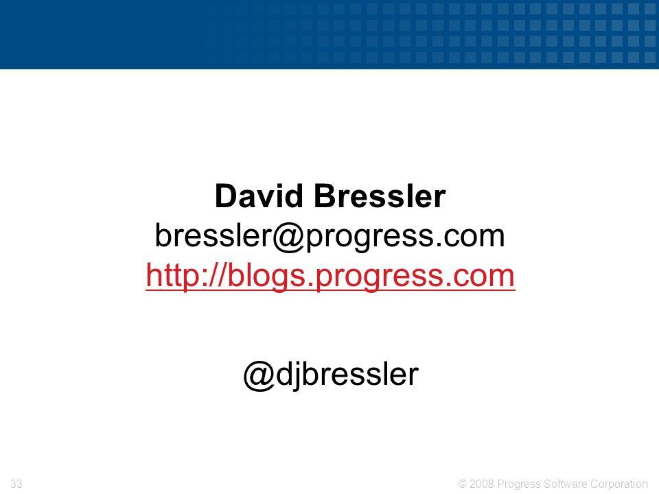 © 2008 Progress Software Corporation32 Cultural Challenges Financial & Logistics Challenges Define Cloud Computing Best Practices