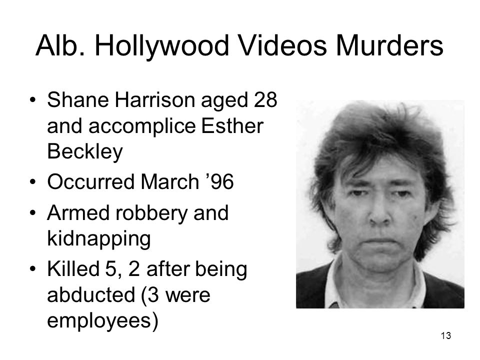 12 James Hubberty commits Calif. McDonalds Massacre July 1984 41 yr. old laid off 1 week before murders41 yr. old laid off 1 week before murders Kille