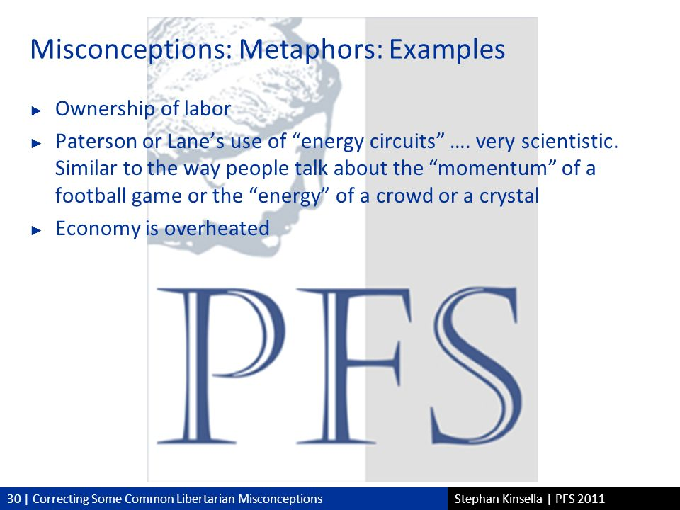 30 | Correcting Some Common Libertarian MisconceptionsStephan Kinsella | PFS 2011 Misconceptions: Metaphors: Examples Ownership of labor Paterson or Lanes use of energy circuits ….
