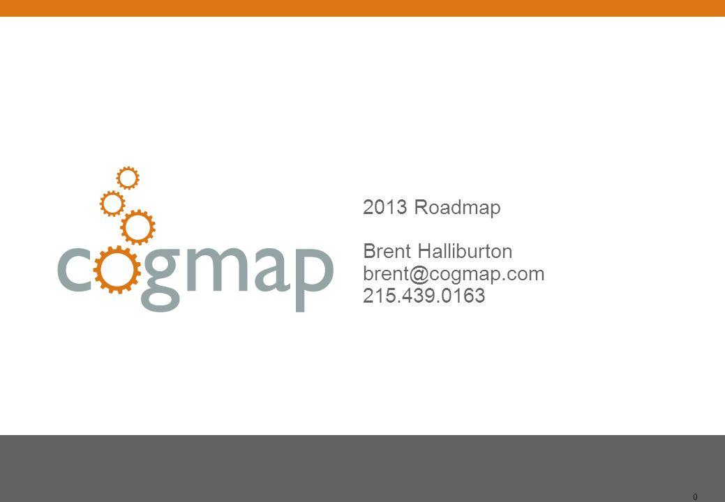 0 2013 Roadmap Brent Halliburton brent@cogmap.com 215.439.0163