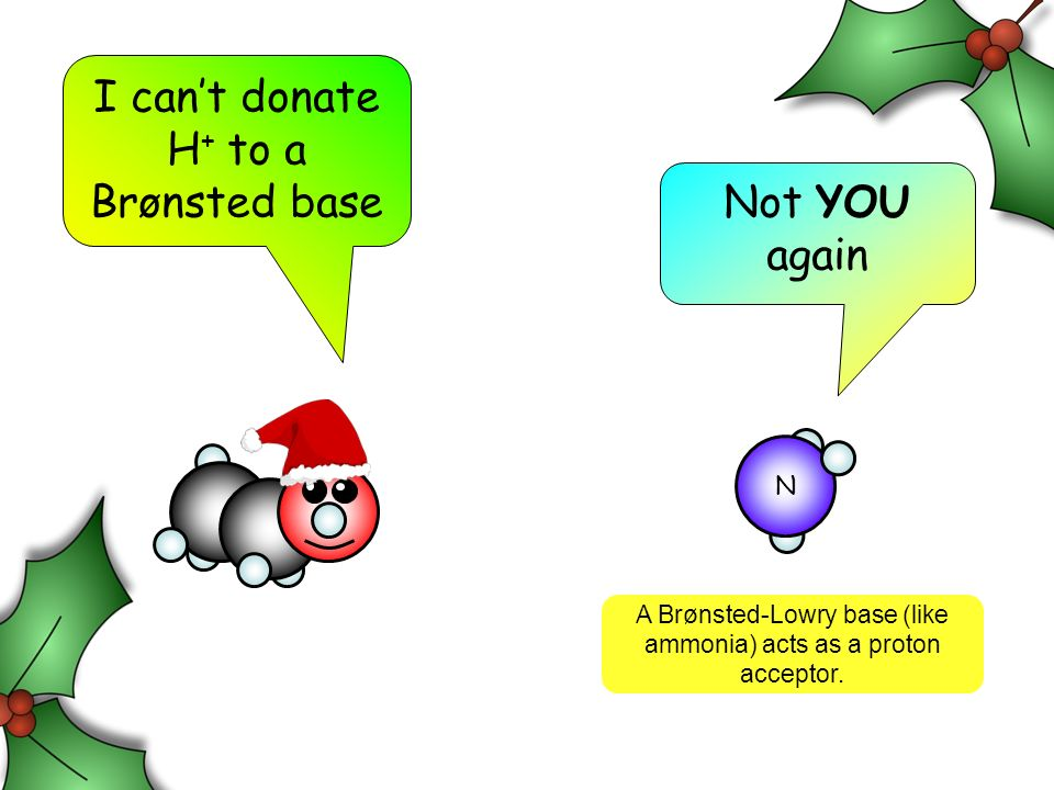 I cant donate H + to a Brønsted base Not YOU again A Brønsted-Lowry base (like ammonia) acts as a proton acceptor. N