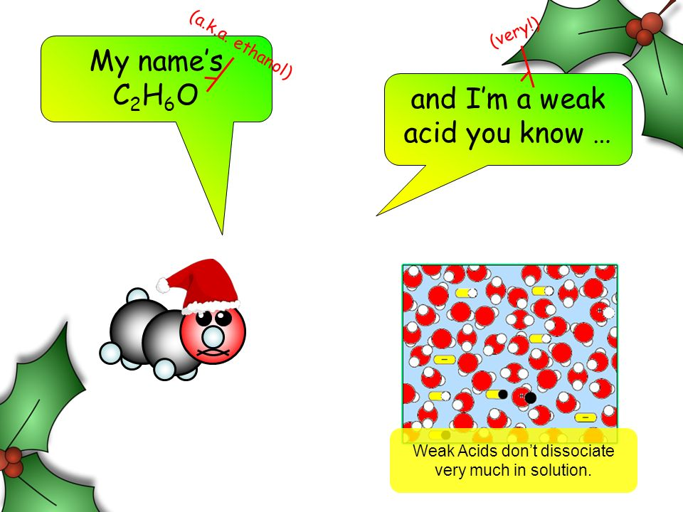 My names C 2 H 6 O and Im a weak acid you know … (very!) Weak Acids dont dissociate very much in solution.