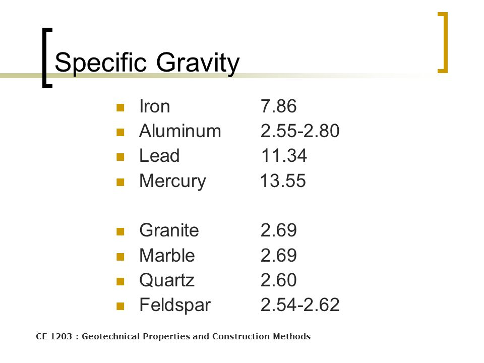 CE 1203 : Geotechnical Properties and Construction Methods Specific Gravity Iron7.86 Aluminum2.55-2.80 Lead11.34 Mercury 13.55 Granite2.69 Marble2.69