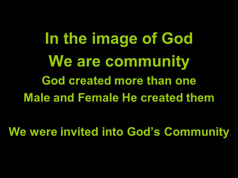 In the image of God We are community God created more than one Male and Female He created them We were invited into Gods Community